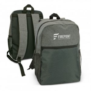 promotional two tone Velocity Backpack in front and back view with two mesh side pockets and smart zipper pulls
