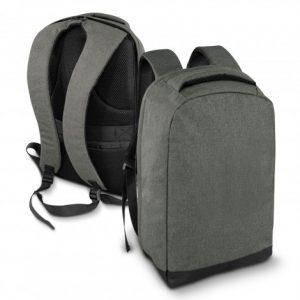 grey Varga Anti Theft Backpack in front and back view with a zippered rear pocket