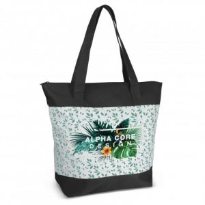 promotional large capella tote bag with zippered closure on the top and custom printed company logo