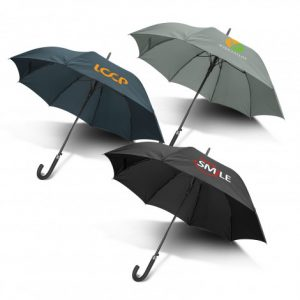 3 multicolour promotional pegasus hook umbrella with soft touch material and branded printed logo