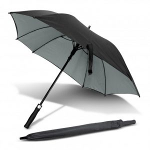 black promotional element umbrella with soft touch material handle that include a slip on pongee carry sleeve