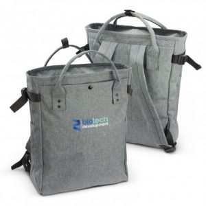 promotional extra large grey Newport Tote Backpack with a front slip pocket and corporate branded logo