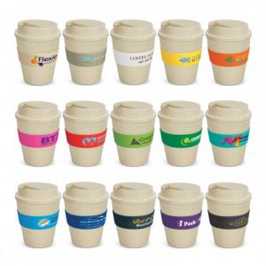 selection of reusable coffee cups with heat resistant silicone branded bands