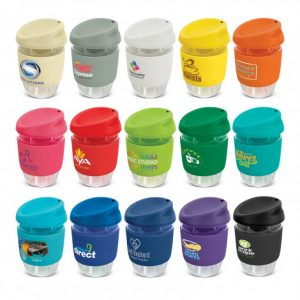 selection of promotional glass reusable coffee cups with different coloured silicone heat resistant bands and lids