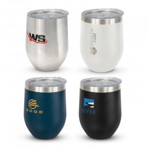 4 curved designed vacuum insulated stainless steel reusable coffee cups with printed company logos and lids