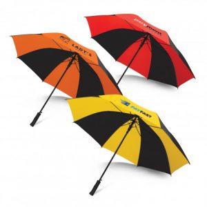 3 multicolour promotional hydra sports umbrella with a soft EVA hand grip and custom printed logo