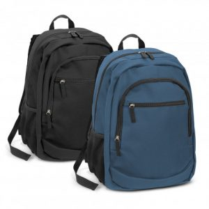 two promotional black and blue Berkeley Backpack that has a main zippered compartment with mesh side pockets