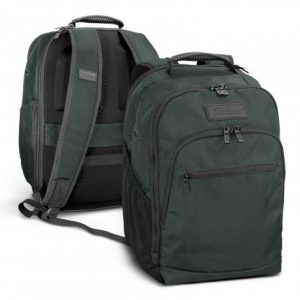 two promotional titleist green players backpack with three zippered compartments and company branded logo
