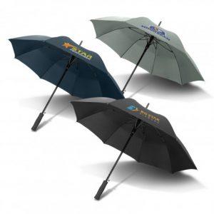 3 multicolour cirrus umbrella with soft EVA hand grip and custom printed branded logo