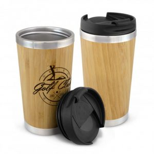 Two promotional bamboo double wall coffee cups with logo and lids
