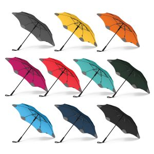 selection of multicolour promotional blunt classic umbrella with a moulded plastic hand grip and woven wrist strap