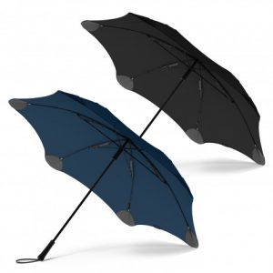 2 promotional blunt exec umbrella with a moulded plastic hand grip and woven wrist strap