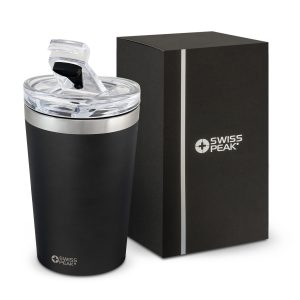 timeless Swiss Peak design and tough powder coating laser engraves company logo to shiny steel finish coffee cup