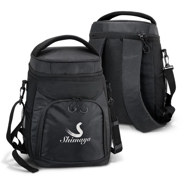 front and back view of black Andes Cooler Backpack with two mesh side pockets and a large zippered front pocket