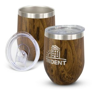 promotional stylish stainless steel coffee cups with a timeless curved design and branded logo