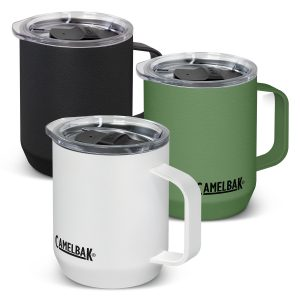 3 promotional CamelBak vacuum insulated stainless steel coffee mugs with a tough powder coated and company logo