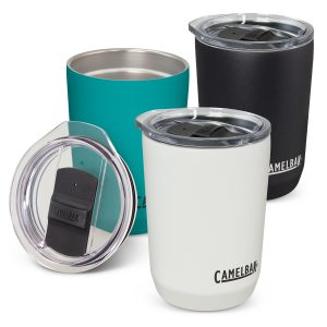 3 promotional CamelBak vacuum insulated stainless steel coffee cups with a tough powder coated and company logo
