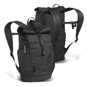 promotional black camelbak pilot roll top backpack in front and back view with side zippered pocket