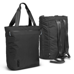 two black camelBak pivot tote backpack with branded logo