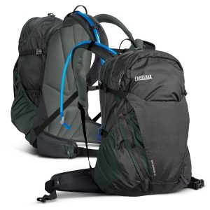 two black and green camelBak rim runner backpack with hydration reservoir