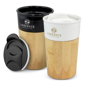two stylish promotional ceramic coffee cups with a trendy bamboo outer wall that includes company logo