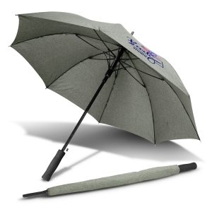 light grey opened cirrus umbrella with branded logo and closed view of umbrella beside