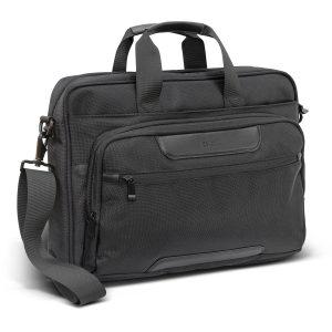 black swiss peak voyager laptop bag with corporate branded logo and shoulder strap