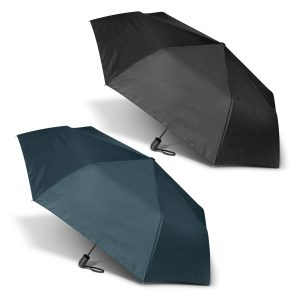 black and navy coloured promotional peros economist umbrella with a plastic hand grip and woven carry strap