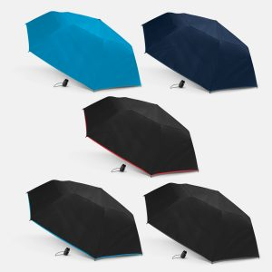 5 selection of promotional compact peros hurricane city umbrella with rubberised hand grip and nylon carry strap